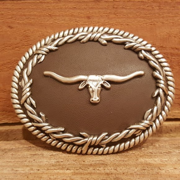 NOCONA BARBED WIRE//LONGHORN WESTERN BELT BUCKLE